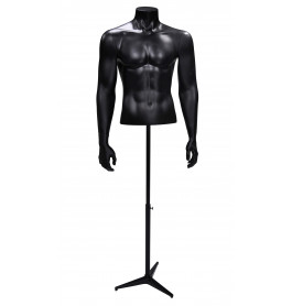 Gruppo Corso Torso 1/2 model heer met armen in mat zwart op driepoot GCBMB1/2