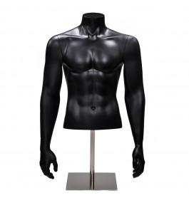 Gruppo Corso Torso 1/2 model heer met armen in mat zwart op poot GCBMB1/2