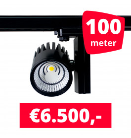 LED Railverlichting Horeca Ghost Black 100 spots + 100M rails