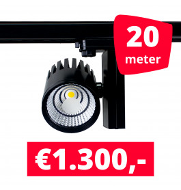 LED Railverlichting Horeca Ghost Black 20 spots + 20M rails