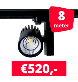 LED Railverlichting Horeca Ghost Black 8 spots + 8M rails
