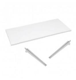 plank glossy wit 100 cm breed + plankdragerset tbv Gondola