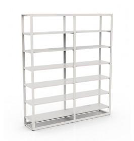 Bigshop kit8800 - H2400 - 2 span - wit met 12x witte glossy planken