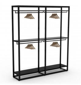 Bigshop kit8800 - H2400 - 2 span - zwart met 6 zwarte planken en 4 confectiestangen
