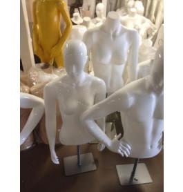 Dames torso's high glossy white met armen en designhoofd