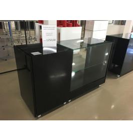 Toonbank met vitrinekast 165 cm breed zwart C-PHR-001/4