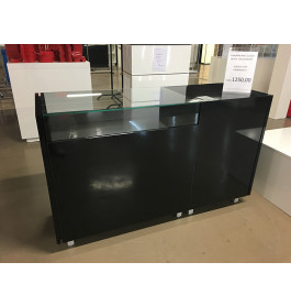 Toonbank met vitrineglas 165 cm breed zwart C-PHR-002/4