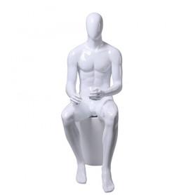 Faceless etalagepop heren zittend glossy white GZM03-GW