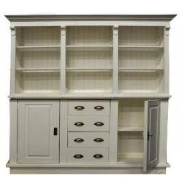Ruime winkelkast wit van 250 cm breed met deurtjes, lades en legvakken