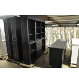 Zwarte toonbank 200 cm breed + kast 200 cm breed