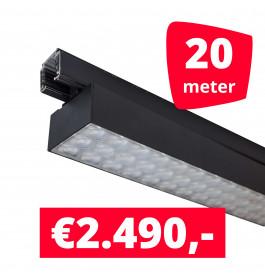 LED Railverlichting Labarra Zwart 10 spots + 20M rails