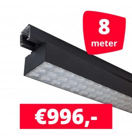 LED Railverlichting Labarra Zwart 4 spots + 8M rails