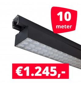 LED Railverlichting Labarra Zwart 5 spots + 10M rails