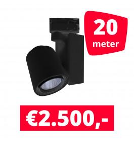 LED Railverlichting Ledimo 5 Zwart 20 spots + 20M rails