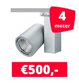 LED Railverlichting Mercato Aluminium 4 spots + 4M rails