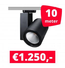 LED Railverlichting Mercato Zwart 10 spots + 10M rails