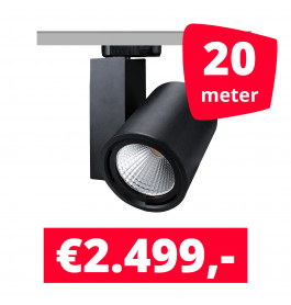 LED Railverlichting Mercato Zwart 20 spots + 20M rails