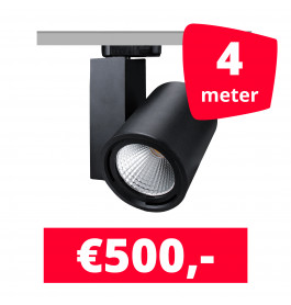 LED Railverlichting Mercato Zwart 4 spots + 4M rails