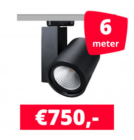 LED Railverlichting Mercato Zwart 6 spots + 6M rails