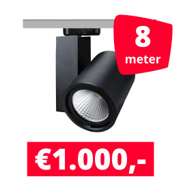 LED Railverlichting Mercato Zwart 8 spots + 8M rails