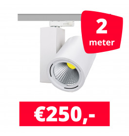 LED Railverlichting Mercato Wit 2 spots + 2M rails