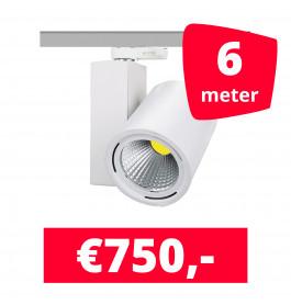 LED Railverlichting Mercato Wit 6 spots + 6M rails
