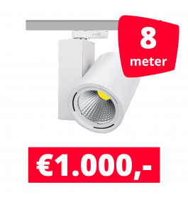 LED Railverlichting Mercato Wit 8 spots + 8M rails