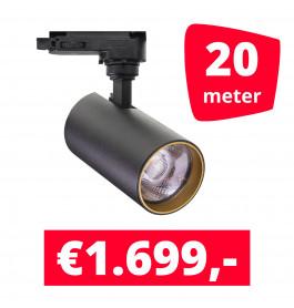 LED Railverlichting Meteora S Zwart 20 spots + 20M rails