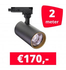 LED Railverlichting Meteora S Zwart 2 spots + 2M rails