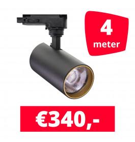 LED Railverlichting Meteora S Zwart 4 spots + 4M rails