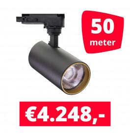 LED Railverlichting Meteora S Zwart 50 spots + 50M rails