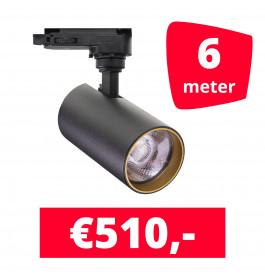 LED Railverlichting Meteora S Zwart 6 spots + 6M rails