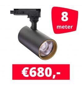 LED Railverlichting Meteora S Zwart 8 spots + 8M rails