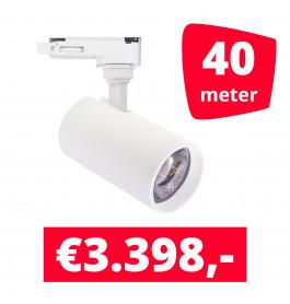 LED Railverlichting Meteora S Wit 40 spots + 40M rails