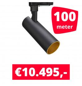 LED Railverlichting Meteora Zwart 100 spots + 100M rails