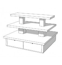 Zware hoogglans piramide tafel met lades groot P-PYR-004