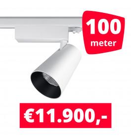 LED Railverlichting Proo 25W Wit 100 spots + 100M rails