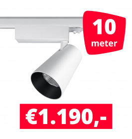 LED Railverlichting Proo 25W Wit 10 spots + 10M rails