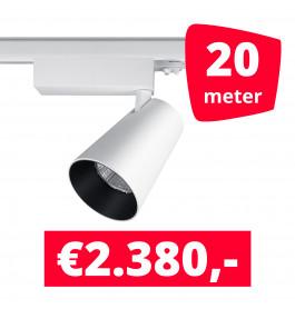 LED Railverlichting Proo 25W Wit 20 spots + 20M rails