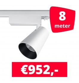 LED Railverlichting Proo 25W Wit 8 spots + 8M rails