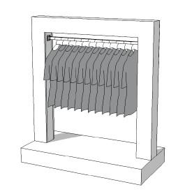 Glossy middenunit kledingrek R-PR-014