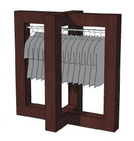 Glossy duo tone middenunit kledingrek R-PR-019-W