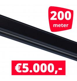 Rails voor verlichting zwart set van 200M