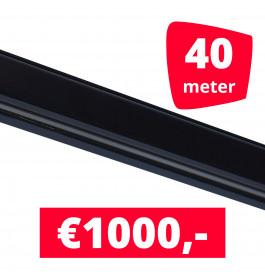 Rails voor verlichting zwart set van 40M