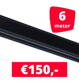 Rails voor verlichting zwart set van 6M