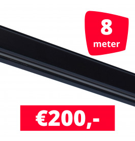 Rails voor verlichting zwart set van 8M