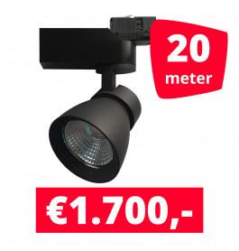 LED Railverlichting Rocket Zwart 20 spots + 20M rails