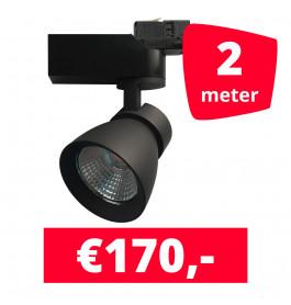 LED Railverlichting Rocket Zwart 2 spots + 2M rails