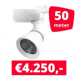 LED Railverlichting Rocket Wit 50 spots + 50M rails