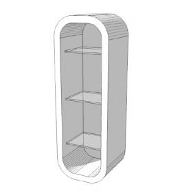 High glossy wit Wandkastje met 3 glazen planken S-VEC-004